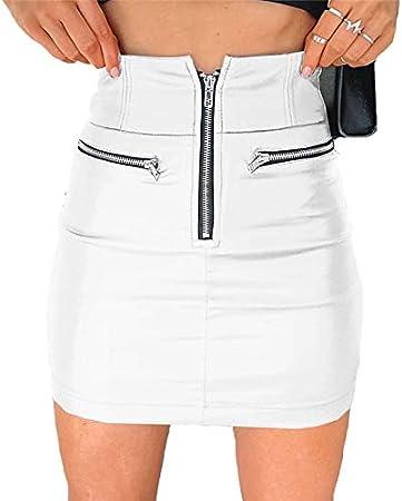 XUBB ZioBSQ Falda de Cintura Alta de Moda para Mujer con Cremallera Falda Corta de Cuero sintético Mini Falda Bodycon Falda Blanca sólida Faldas Cortas de Cuero de PU
