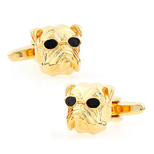 Bulldog Cufflinks Animal British English Culture Dogs Gold Cool and Glasses 3D Cuff Links