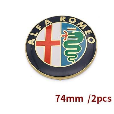 Tamiko - 2pcs Free shipping Specials sale Black white Color 74mm 7.4cm ALFA ROMEO Car Logo emblem Badge sticker for Mito 147 156 159 166 - (Color Name: Orange)