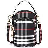 Women Men Multi Crossbody Bags Waterproof Travel Bag Tiny Chest Pouch 3 Pockets Wallet Hold Smartphones Adjustable Strap Earphone Hole Plaid Black