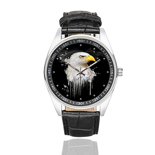 InterestPrint Men's Black Leather Strap Watches Watercolor Eagle Black Waterproof Wrist - Eagle Face Watch