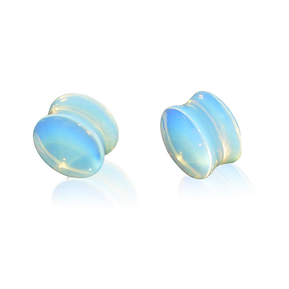 Jewseen High Polished Natural Opalite Stone Ear Plugs Flesh Tunnels Double Flare Earrings Gauges Expander JPLG003A10