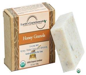 Bar Soap (USDA Organic) Honey, Almonds & Oatmeal - Pure, Moisturizing Coconut Oil and Aloe Vera | Eczema Soap -