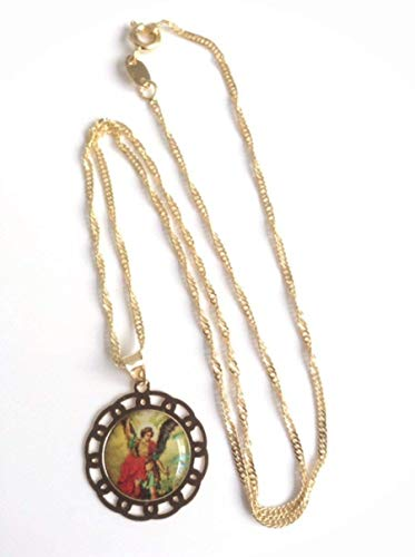 Michael Archangel Medal Chain Necklace 17 Inches 43.68 cm 18k Gold Plated