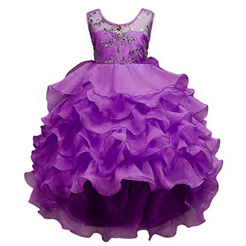 VERNASSA Girl Dress Kids Ruffles Lace Party Wedding Dresses Girl Birthday Party Purple