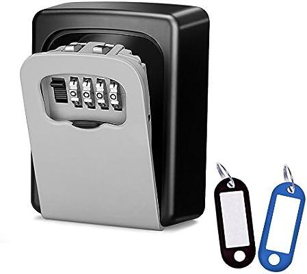Wonyered Caja de Seguridad Cerradura Fuerte con 4 Numeros de Códigos para Guardar las Llaves Joyas o Tarjeta bancaria en Pared o Mirilla: Amazon.es: Industria, empresas y ciencia