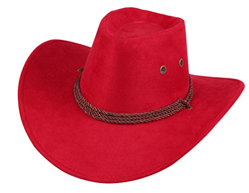 UwantC Mens Faux Felt Western Cowboy Hat Fedora Outdoor Wide Brim Hat with Strap ()