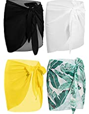 4 Pieces Women Chiffon Short Sarongs Cover Ups Beach Swimsuit Wrap Skirt, 4 Colors