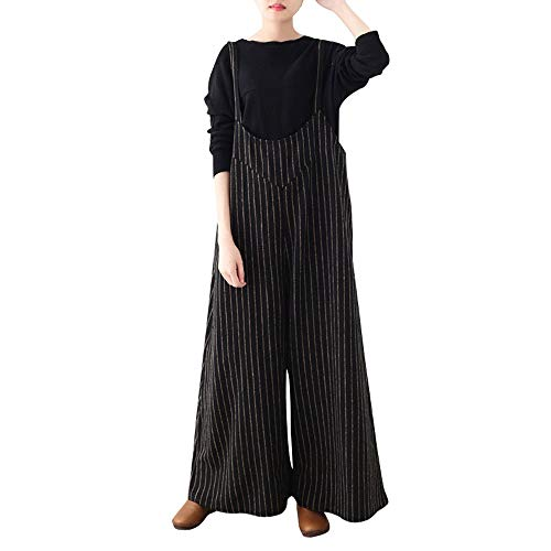Morecome,Women Suspenders Striped Casual Loose Wide Leg Pants Long Rompers Playsuits