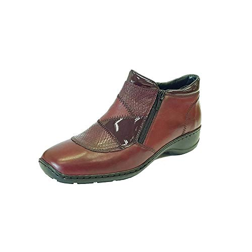 Boot Wine 58387 Zip Leather 35 Combo Wine Chiante Rieker Twin Ankle SO7Uxfw