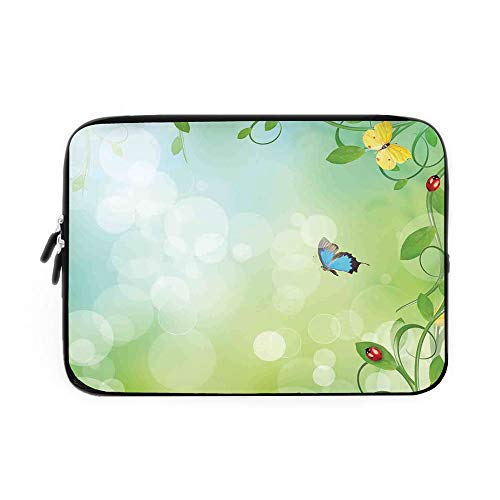 Ladybugs Laptop Sleeve Bag,Neoprene Sleeve Case/Spring Theme with Flowers Ladybugs and Butterflies Transformation Morph Print/for Apple MacBook Air Samsung Google Acer HP DELL Lenovo AsusLigh (Ladybug Mod)