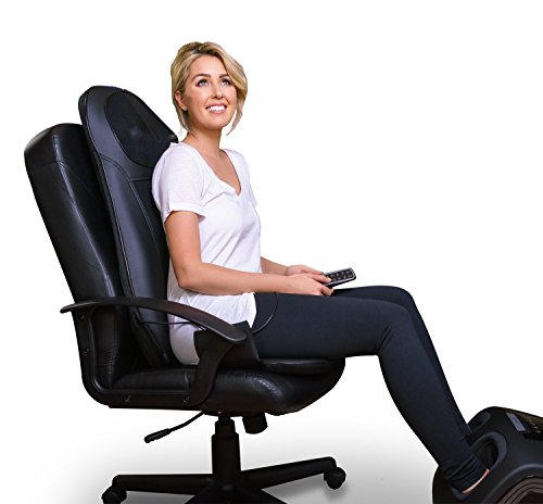 Zyllion ZMA14 Shiatsu Neck & Back Massager Cushion with Soothing Heat Function And 3 Massage Styles Rolling, Spot, and Kneading (Black) One Year Warranty