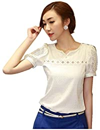 Women Lace Short Sleeve Shirt V Neck Doll Chiffon Blouse Sweet Sytle Tops