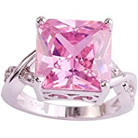 Nongkhai shop Pink & White Gemstone Fashion Jewelry Women Gift Silver Ring Size 6 7 8 9 10 11 (7)