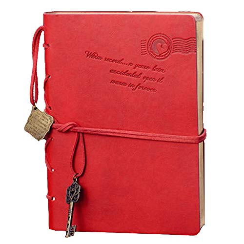 (XRROOK Classic Retro A5 Notebook Vintage Style PU Cover String Key Bundle Blank Unlined Pages Notepad Journal Travel Diary Sketchbook Writing Books to Write for Men Women Gift for,Red )