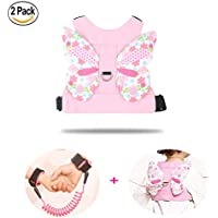 Anti Lost Wrist Link + Toddlers Leash 2 packs Child Walking Safety Harness Kids Wristband Assistant Strap Belt (Butterly pink)