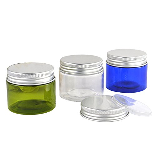 Furnido 6pcs 50G 50ml PET Plastic Empty Refillable Cosmetic Jars with Clear Liner and Aluminium Cap Makeup Hand Lotion Containers Pot Bottle for Facial Mask Lotion Essentials Oils (green)