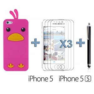 OnlineBestDigital - Chick Style Soft Silicone Case for Apple iPhone 5S / Apple iPhone 5 - Hot Pink with 3 Screen Protectors and Stylus