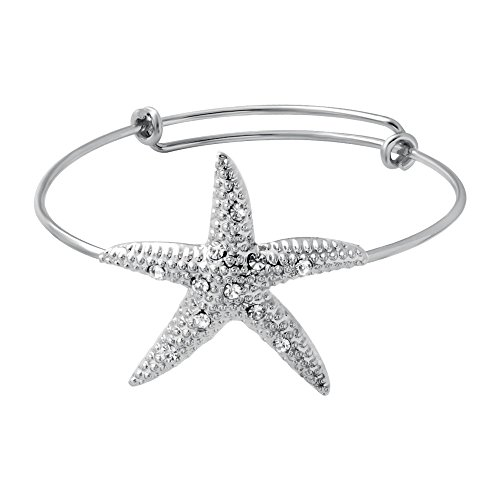 SENFAI New Fashion 3 Colors Female Lovely Jewelry Wire Expandable Bangle Bracelet Adjustable Elegant Crystal Starfish Bracelet (Silver color)