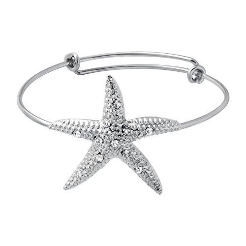 Starfish Bracelet (SENFAI 3 Colors Female Lovely Jewelry Wire Expandable Bangle Bracelet Adjustable Elegant Crystal Starfish Bracelet (Silver Color))