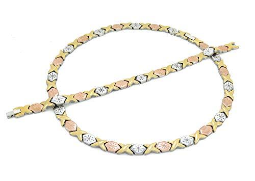 Womens 3 Tone XOXO Hugs & Kisses Necklace and Bracelet Set Starburst 18