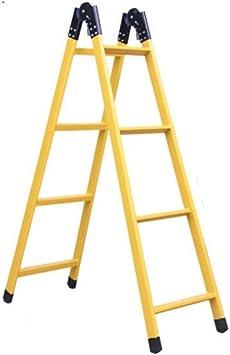 Casa Las escaleras de tijera plegable de ingeniería, cubierta al aire libre de doble tijera construcción de escalera de tijera de acero recto Verde Amarillo Engrosado (Color : Yellow): Amazon.es: Bricolaje y
