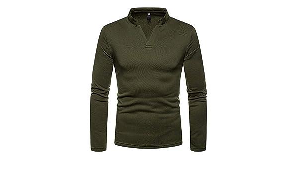 Army Green Men Henley Shirt 2019 Plus Velvet V Neck T Shirt Men Slim Fit Long Sleeve T-Shirt Male Camisetas Hombre XXL at Amazon Mens Clothing store: