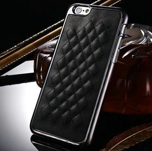 iPhone 6 Plus Case, Luxurious Quilted Pattern Lamb Skin Leather Chrome Case for Apple iPhone 6 Plus 5.5 inch (Black)