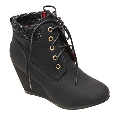 Fabric Lace Up Wedges (Bella Marie Sally-28 Women's almond toe wedge heel lace up woven padded collar side zip nubuck ankle booties Black 6.5)