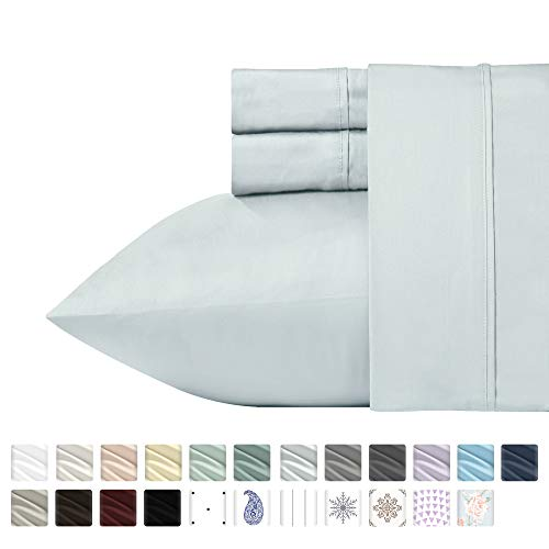California Design Den 400 Thread Count 100% Cotton Sheets - Light Grey Long-Staple Cotton Full Sheets, Fits Mattress Upto 18'' Deep Pocket, Soft Sateen Weave 4-PC Cotton Bedsheets and Pillowcases