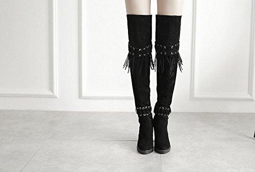 Carolbar Women's New Style Fashion Tassels High Heel Nubuck Long Boots Black 722DrKn