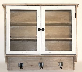 Distressed Wood And Glass 2 Door Wall Cabinet With Hooks Amazon Co