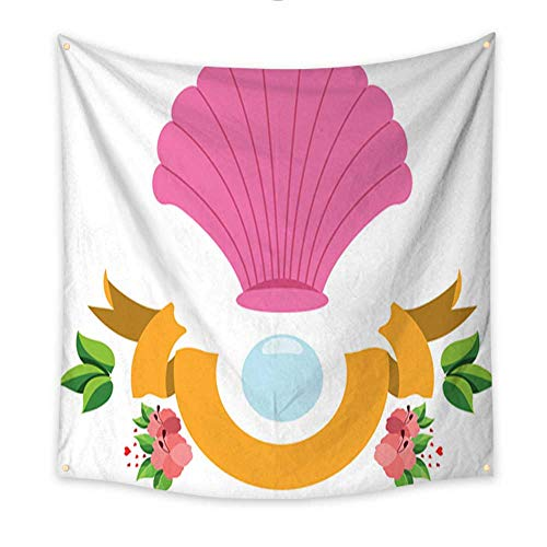 Tapestry Beach Shell and Pearls Colored Illustration for Design Resort Theme Blanket Home Room Wall Decor 47W x 47L Inch -