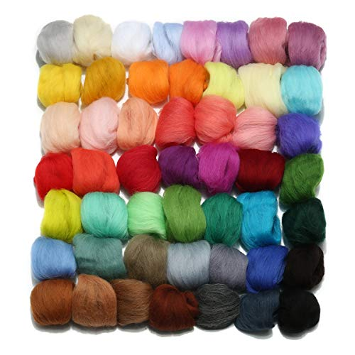 Jeteven 50 Colors Merino Wool Fibre Roving Spinning Sewing Trimming For Needle Felting DIY Craft (3g per color) ()