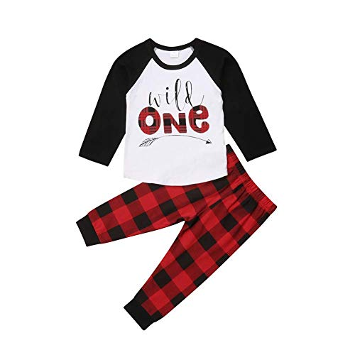 Baby Boys Girls Clothes, 2Pcs Infant Toddler Wild One Arrow Long Sleeves Top T Shirt Red Plaid Pants Outfits Clothing (12-18 Months, Wild One)