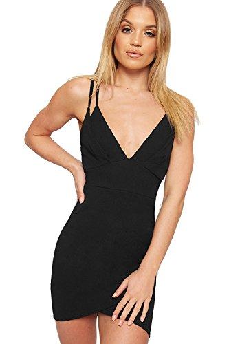 Wearall Womens Doubles Bretelles Froncé Ourlet Incurvé Mini-robe De Soirée Moulante Noire