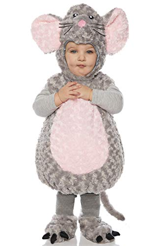 Underwraps Kid's Toddler's Plush Mouse Belly Babies Costume Childrens Costume, Gray,