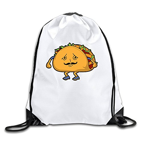 Funny Taco Clipart 100% Polyester Fiber Drawstring Backpack Bag One Size