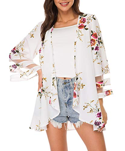 Women Mesh Panel 3/4 Bell Sleeve Floral Chiffon Casual Loose Kimono Cardigan Capes (M, White 2)