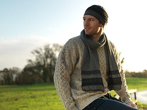 - Traditional Wool Crew Neck Aran Sweater (Medium, Oatmeal)