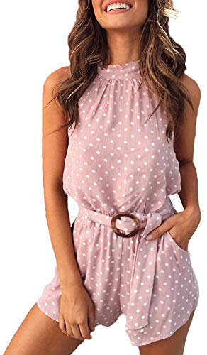 - ChayChax Women's Summer Vintage Polka Dot Rompers Sleeveless Halter Neck Wide Leg Romper Jumpsuits with Waist Belted Pink