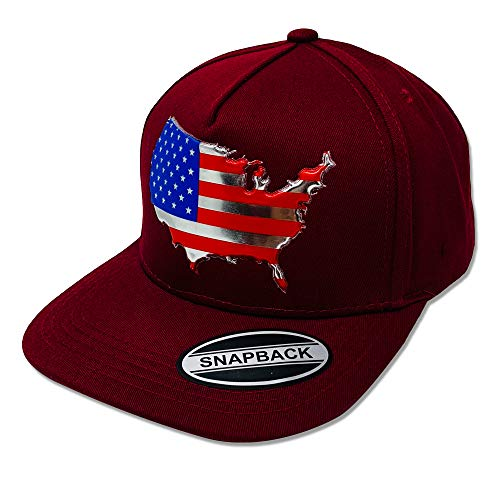 GREAT CAP US MAP Snapback - Classic US MAP Design 3D Embossed Logo Baseball Cap Size Adjustable Fahsionable Daily Outdoor Hat - Embossed US Map - Burgundy