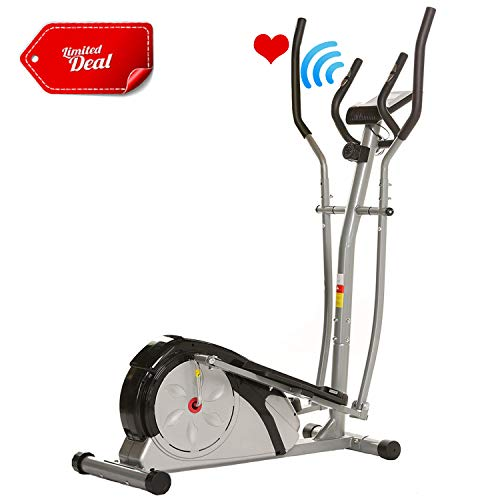 ANCHEER Elliptical Machine, Elliptical Exercise Trainer Machine with LCD Monitor and Pulse Rate Grips, Magnetic Smooth Quiet Driven for Home Using, Top Levels Elliptical Trainer (Gray)
