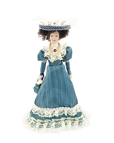 "Twenis 1/12 Joint Flexible 6"" Porcelain Dolls Miniature for Dollhouse, Classical Victorian Lady Women in Green Dress with Hat"