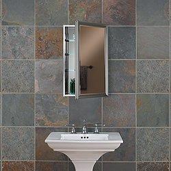 Broan-NuTone S568N244SSSNP Studio V Single-Door Recessed Medicine Cabinet, 24-Inch, Satin Nickel Frame