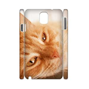 3D Vety Cat Samsung Galaxy Note 3 Cases Sleepy Cat 5, Cat [White]