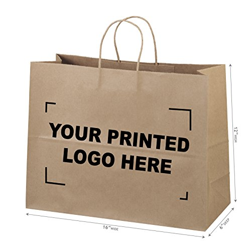 16''x6''x12'' 100 Pcs Custom Printed Brown Kraft Paper Bags. 95% POST CONSUMER MATERIALS & FSC CERTIFIED by BagSource