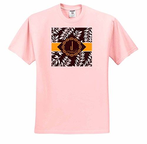 Doreen Erhardt Monogrammed Collection - Tropical Print in Charcoal White and Yellow with Letter J Monogram - T-Shirts - Adult Light-Pink-T-Shirt 2XL (ts_244664_38) -  3dRose
