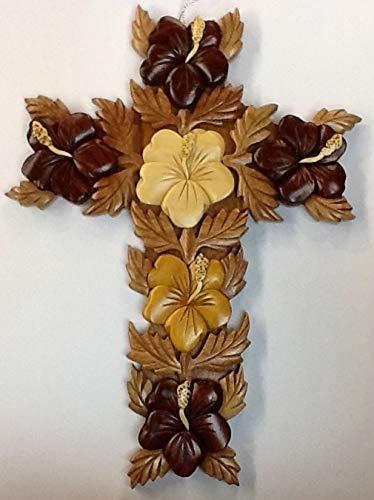 Island wood Hibiscus Cross Wall Hanging 10
