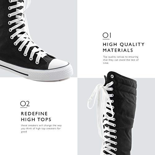 Tall Calf Punk Mid Blue Boots Women's Casual Sneaker Canvas Flat Black Sky DailyShoes fqw6ZIW
